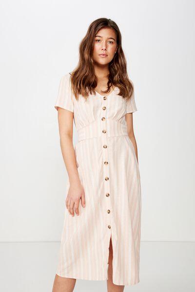 Woven Cherry Button Front S/S Midi Dress, MAYA STRIPE DUSTY PINK