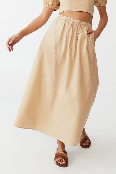 Woven Petite Lauren Maxi Skirt, BROWN TAUPE