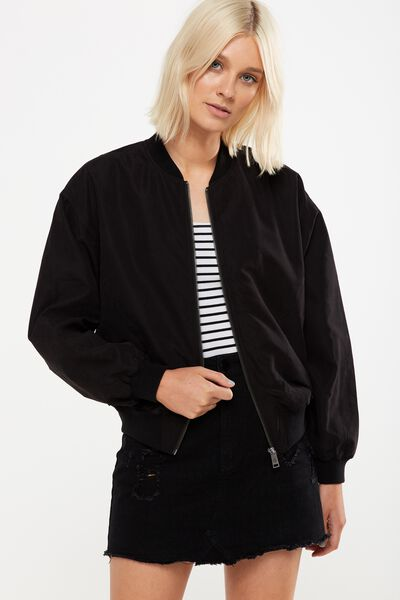 Batwing Bomber Jacket, BLACK