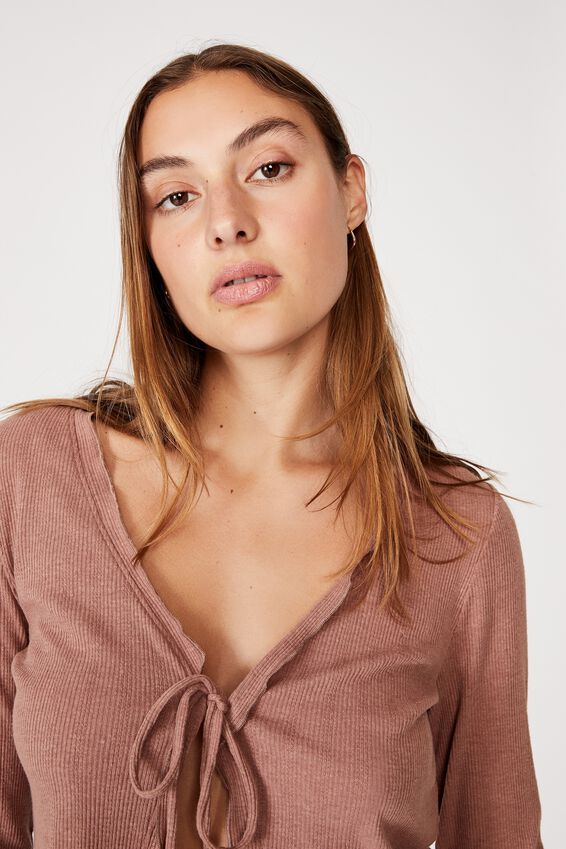 Ava Frill Tie Front Cardi, ROSE TAUPE