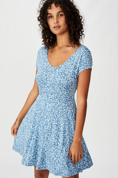 Becky Tie Back Mini Tea Dress, FRANKIE DITSY PROVINCIAL BLUE