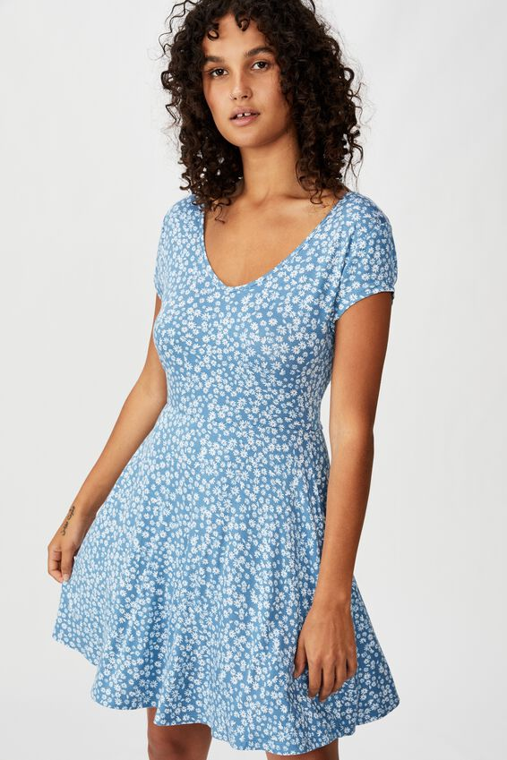Becky Tie Back Mini Tea Dress, FRANKIE DITSY PROVINCIAL BLUE