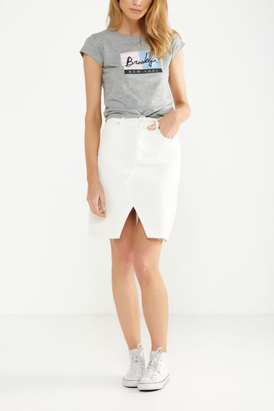 Denim Split Midi Skirt, WHITE