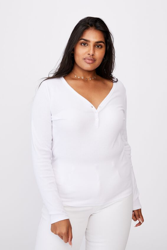Curve Lincoln Henley Long Sleeve Top, WHITE