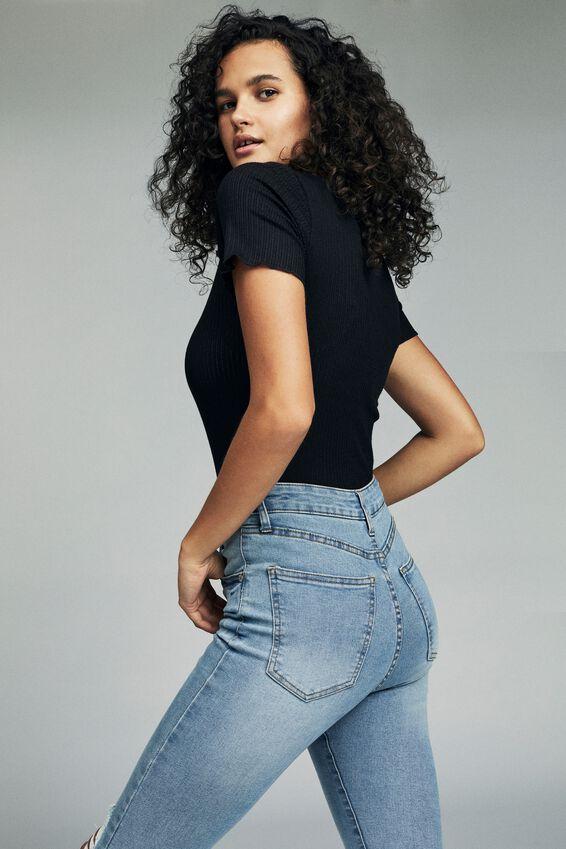 High Skinny Jean, MID BLUE WASH