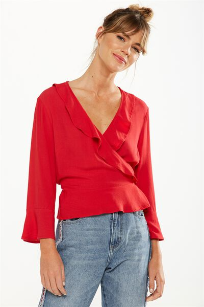 Ruby Ruffle Blouse, CHERRY RED