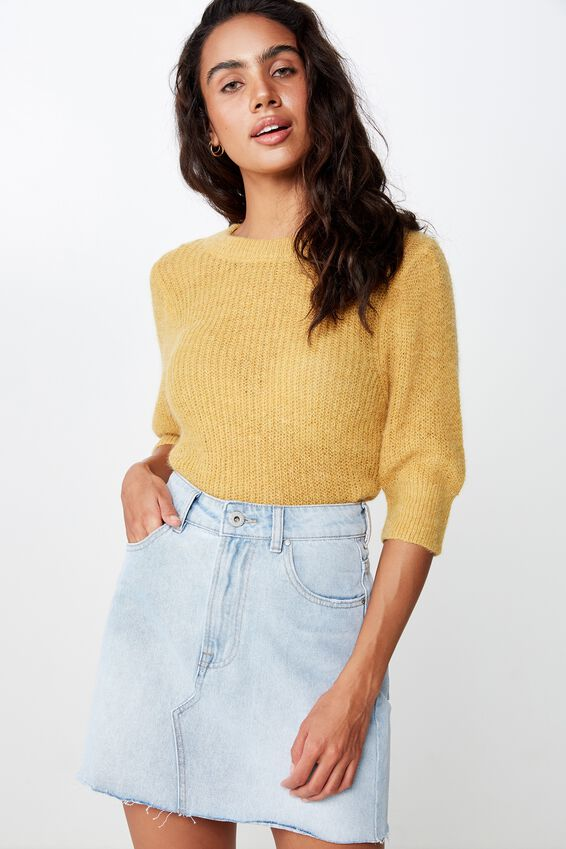 Pia Puff Mid Sleeve Pullover, NARCISSUS