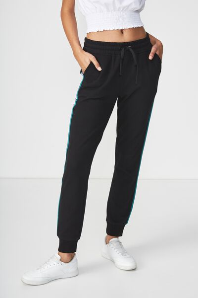 Adele Trackpant, BLACK TEAL GREEN/WHITE PIPING