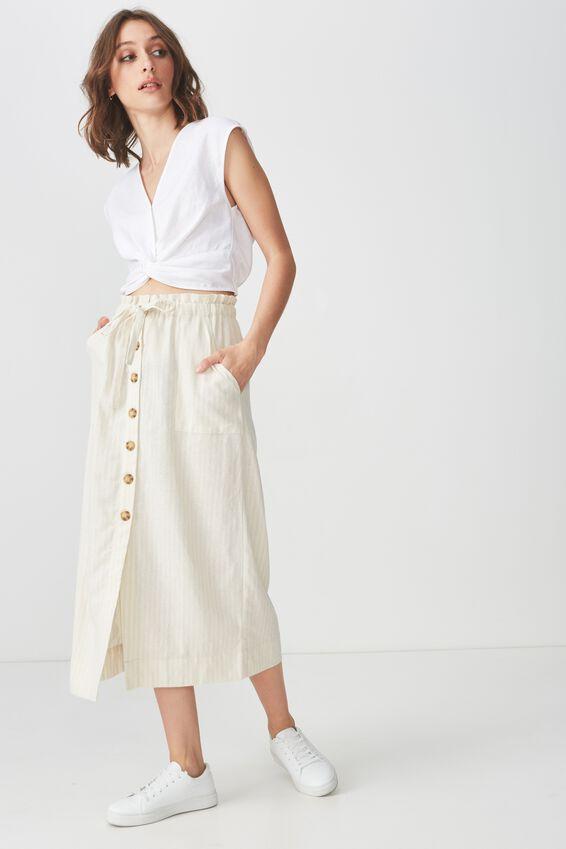 Woven Molly Button Through Midi Skirt, AMY SUBTLE STRIPE