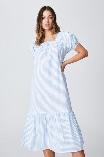 Woven Sadie Short Sleeve Midi Dress, EMILY STRIPE AUTHENTIC BLUE