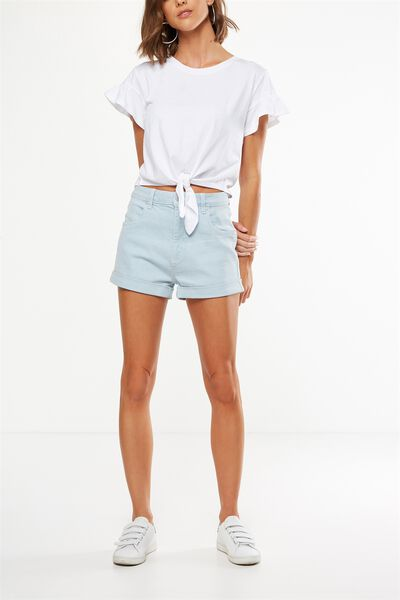 High Rise Classic Stretch Denim Short, ICE LIGHT BLUE