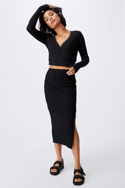 Essential Split Midi Skirt, BLACK