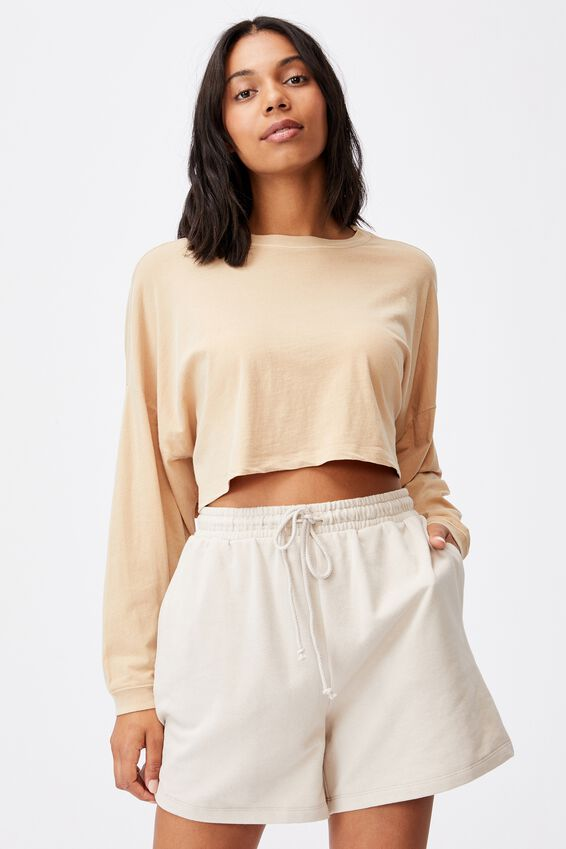 Kyle Batwing Long Sleeve Top, WASHED LATTE