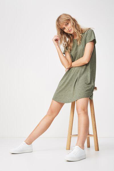 Tina Tshirt Dress 2, KHAKI/BLACK FLECK