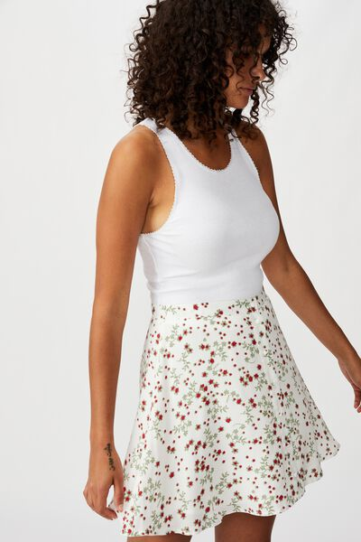 Allegra Button Through Mini Skirt, MILLIE FLORAL GARDENIA