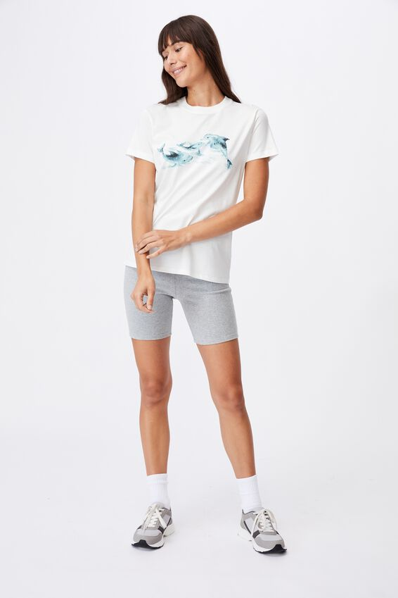 Classic Arts T Shirt, DOLPHINS/VINTAGE WHITE