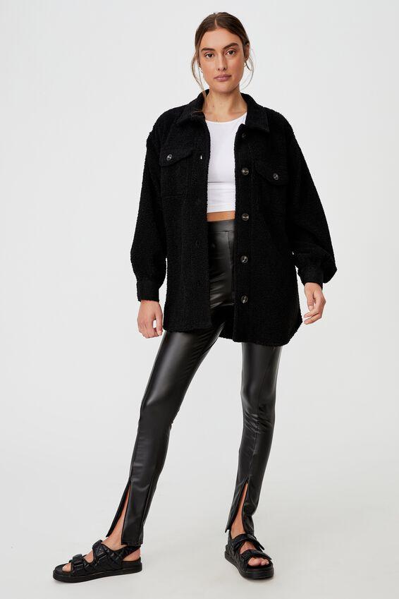Zip Front Pu Legging, BLACK