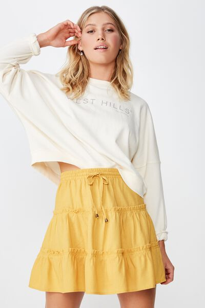 Woven Chloe Mini Skirt, BRIGHT GOLD