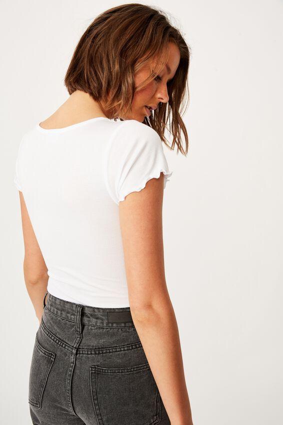 Marshall Lettuce Short Sleeve Body Suit, WHITE