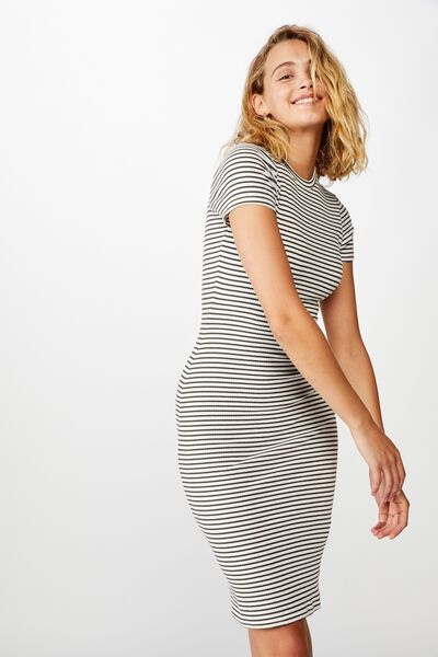Essential Short Sleeve Bodycon Midi Dress, LULU STRIPE WHITE/RAVEN RIB