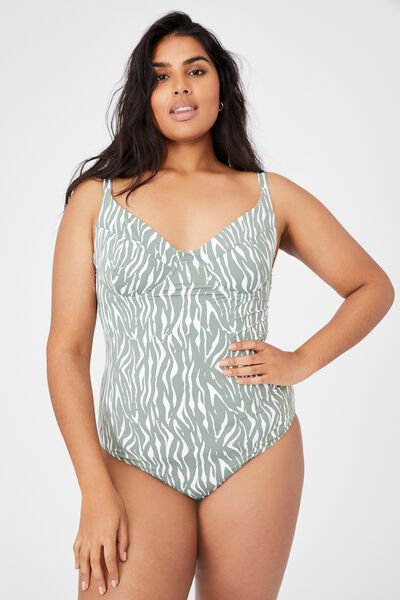 Curve Wire Bra One Piece, KHAKI ZEBRA