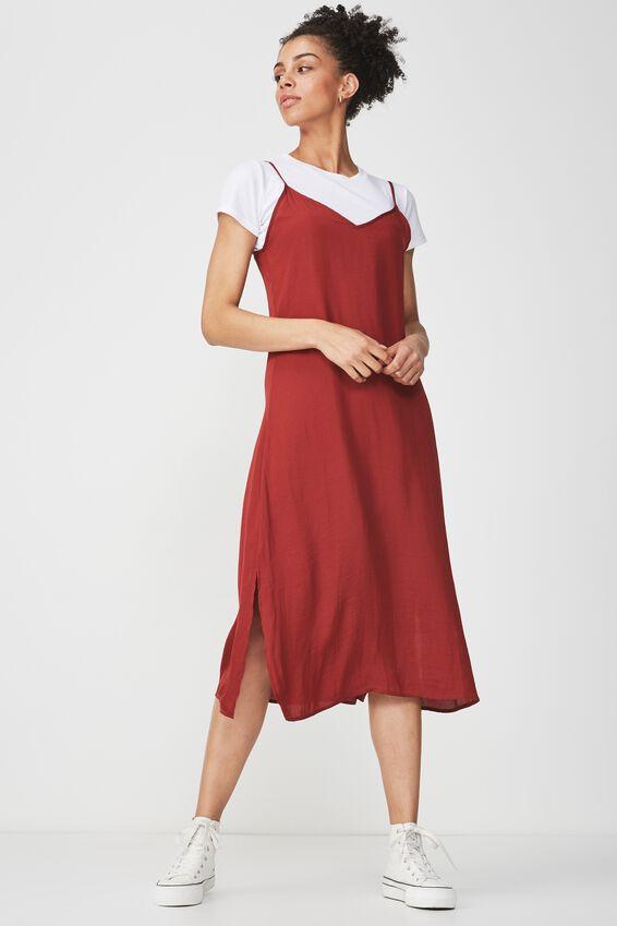 Woven Satin Midi Dress, ROSEWOOD