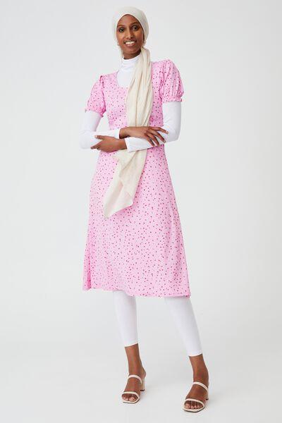 Elina Short Sleeve Midi Dress, BELLA DITSY PINK CHERRY BLOSSOM
