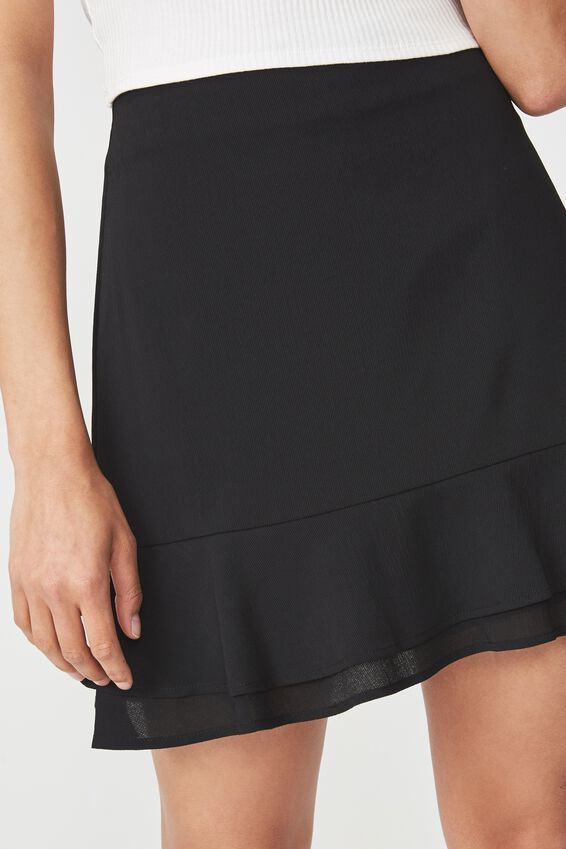 Woven Alana Mini Skirt, BLACK