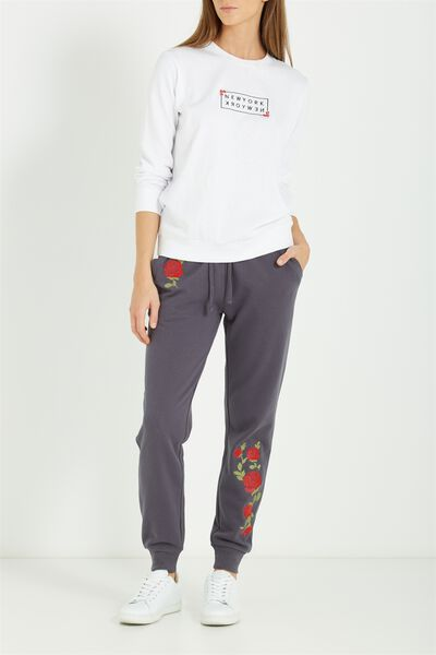 Adele Trackpant, GREYSCALE MARLE/ RED ROSES