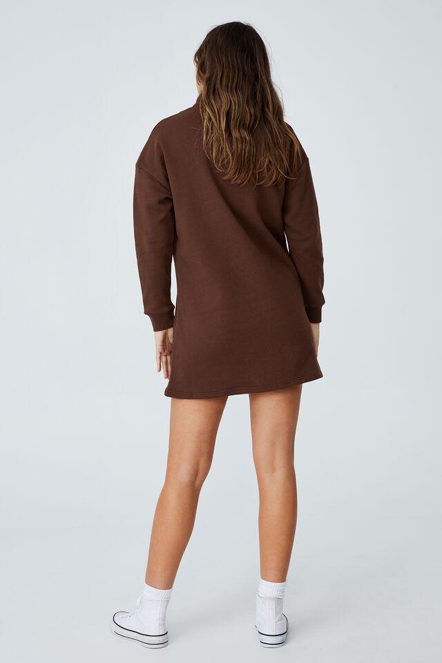 Zizzy Zip Sweater Mini Dress, RICH CHOCOLATE