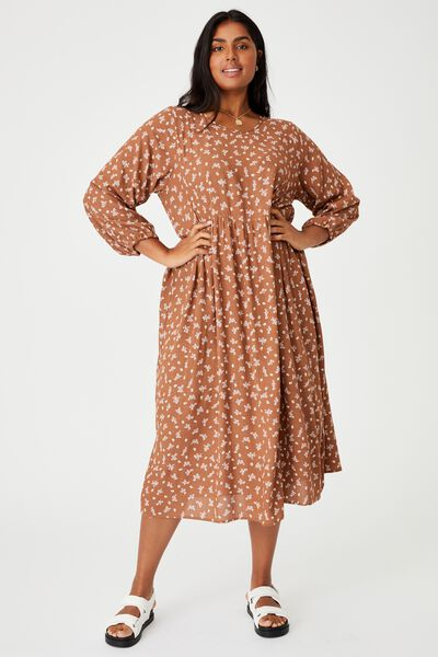 Curve Good Times Babydoll 3/4 Sleeve Maxi Dress, RIDDLE DITSY LEAF BROWN