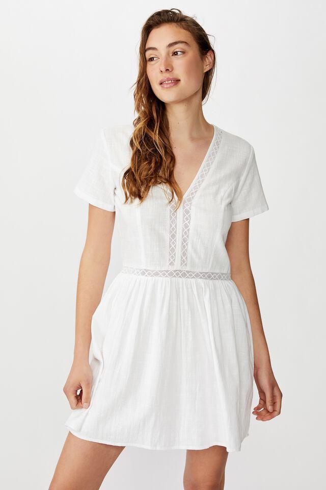 Woven Harlow Short Sleeve Mini Dress, WHITE