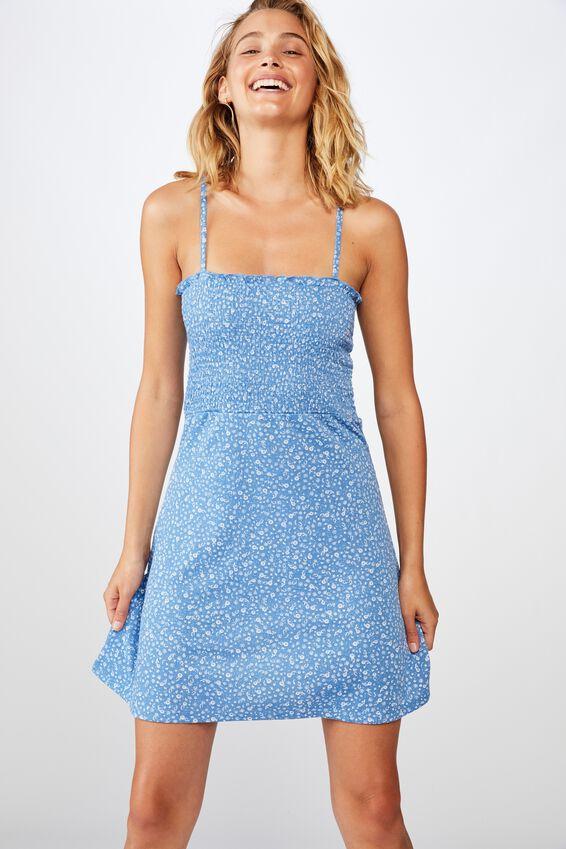 Shelly Shirred Bodice Mini Dress, ELOISE DITSY PARISIAN BLUE