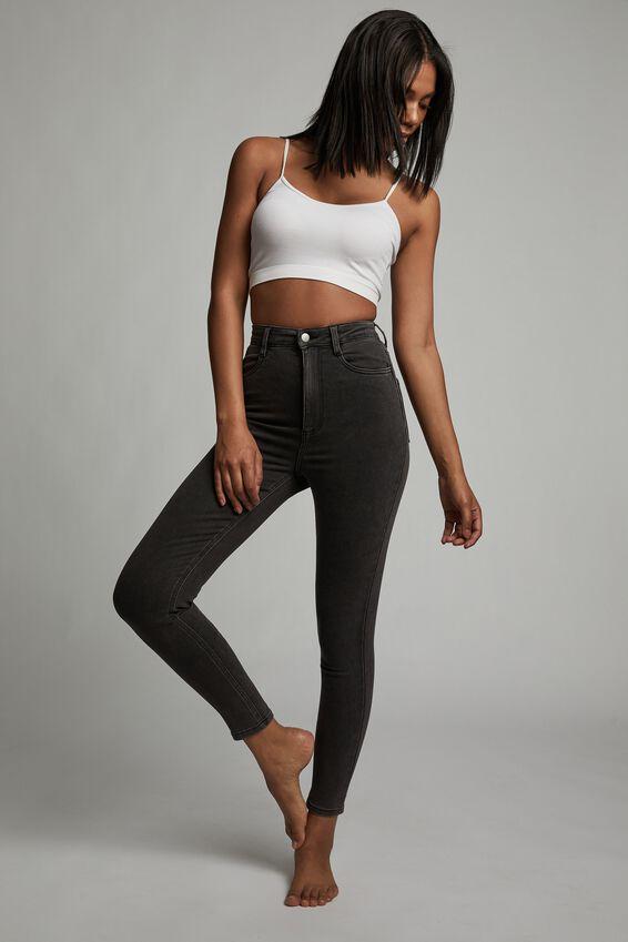 Ultra High Super Stretch Jean, WASHED BLACK POCKETS
