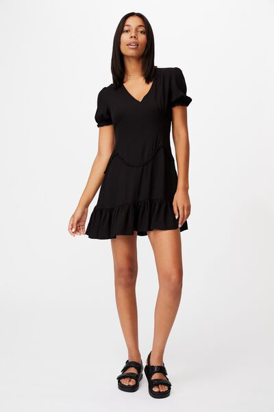 Woven Sam Short Sleeve Mini Dress, BLACK