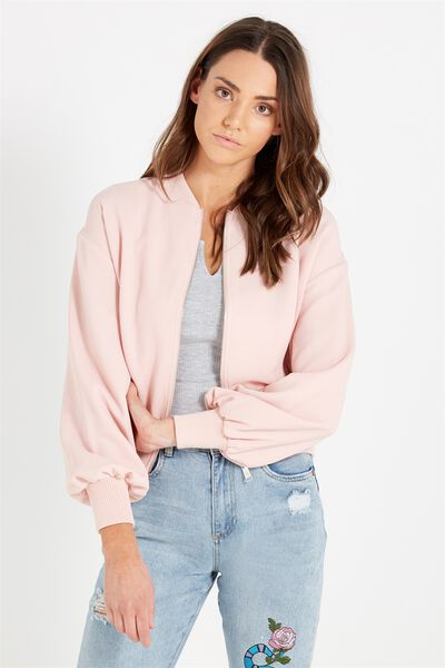 Candice Blouson Sleeve Bomber Jacket, WASHED PINK