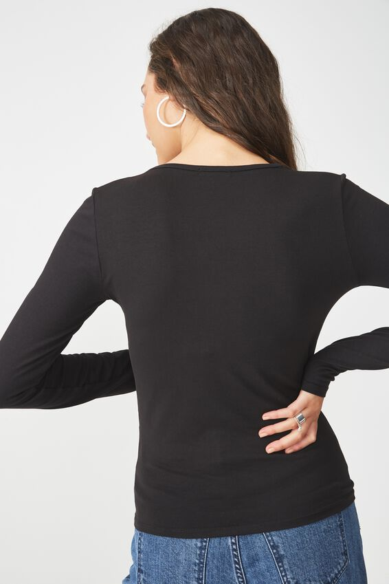 Everyday Long Sleeve V Neck Top, BLACK