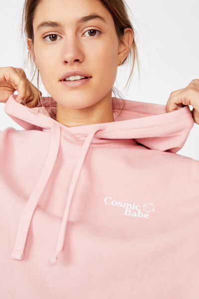Harper Boxy Hoodie Graphic Fleece, COSMIC BABE ROSE MUSK