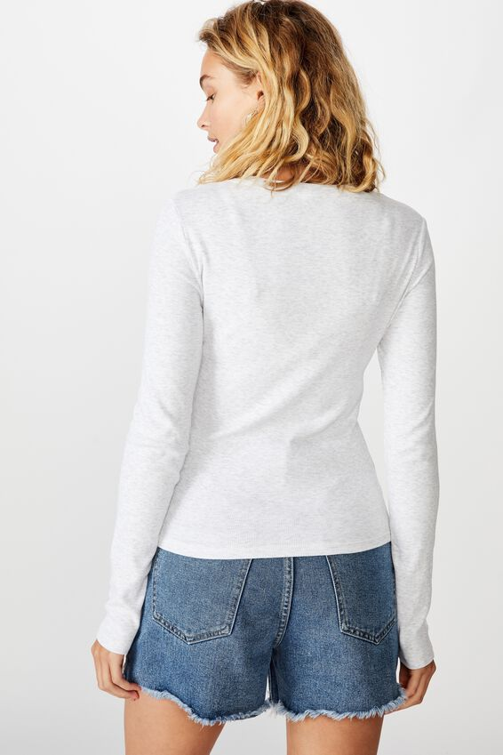 The Turn Back Long Sleeve Top, SILVER MARLE