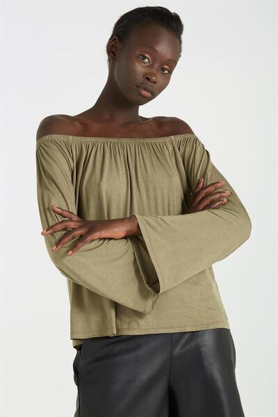 Petrova Long Sleeve Off The Shoulder Top, AUTUMN GREEN