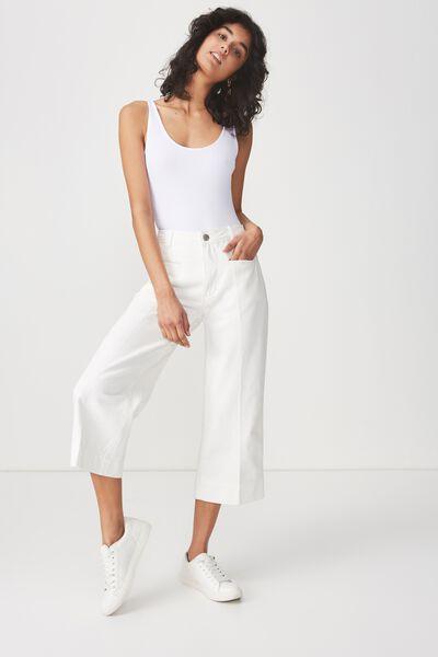 High Rise Wide Leg Crop Jean, WHITE WELT POCKET PRESS