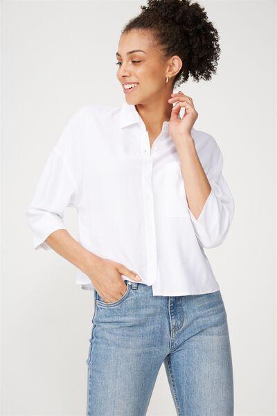 Rebecca Chopped Shirt, WHITE