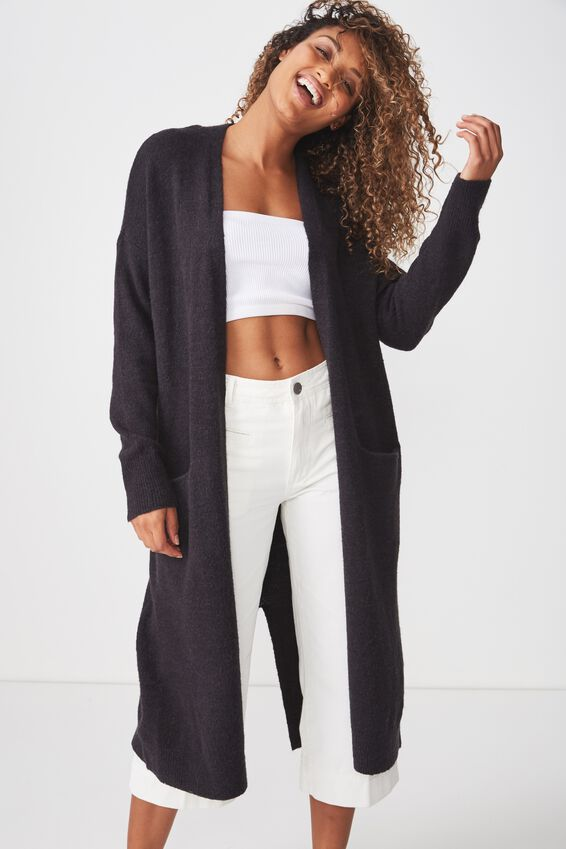 Split Back Cardi, CHARCOAL MARLE
