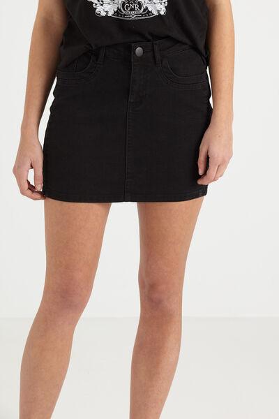 The Mini Stretch Denim Skirt, BLACK