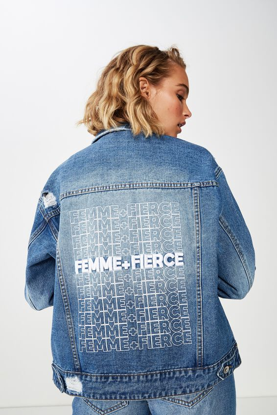 New Boyfriend Fashion Denim Jacket, FEMME/FEIRCE