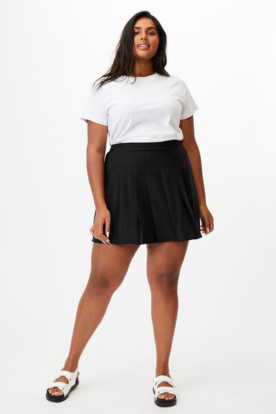 Curve Tia Pleated Mini Skirt, BLACK