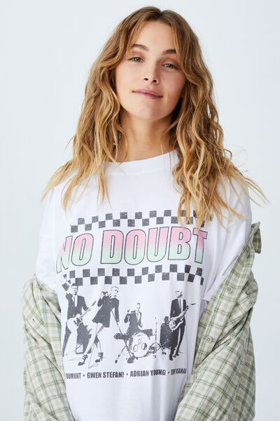 The Relaxed Boyfriend Graphic License Tee, LCN MT NO DOUBT/WHITE