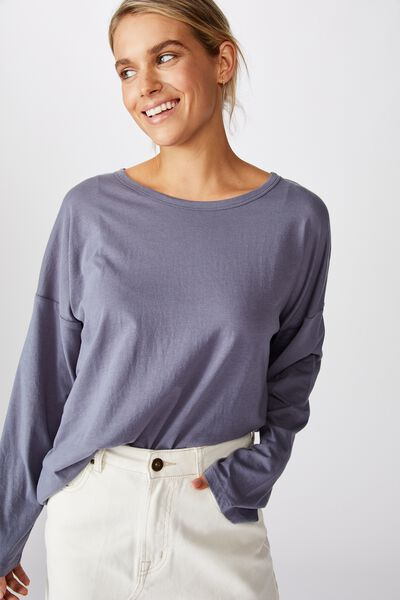 The Kyle Oversize Long Sleeve Tee, FOLKSTONE GRAY
