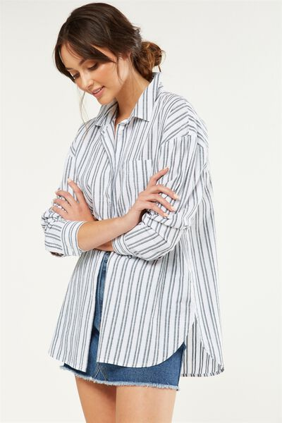Monique Shirt, FRENCH STRIPE WHITE/PINE/DEEPEST NAVY