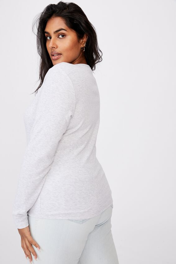 Curve Lincoln Henley Long Sleeve Top, SILVER MARLE